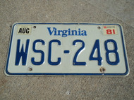 1981 VIRGINIA License Plate WSC 248