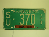1970 KANSAS 8M Trailer License Plate SU 370