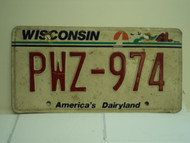 WISCONSIN America's Dairyland License Plate PWZ 974