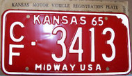 1965 Coffey Co Kansas CF 3413 Midway License Plate