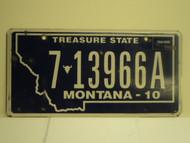 2010 MONTANA Treasure State License Plate 7 13966A