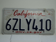 CALIFORNIA Lipstick License Plate 6ZLY410