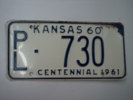 1960 KANSAS 1961 Centennial License Plate PL 730