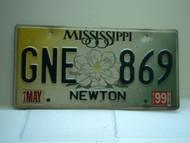 1999 MISSISSIPPI Magnolia License Plate GNE 869