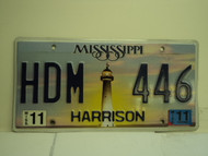 2011 MISSISSIPPI Lighthouse License Plate HDM 446