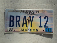 2011 MISSISSIPI Vanity License Plate BRAY12