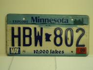 2006 MINNESOTA Explore 10,000 Lakes License Plate HBW 802
