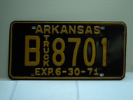 1971 ARKANSAS NOS Truck License Plate B 8701