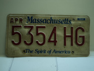 MASSACHUSETTS Spirit of America License Plate 5354 HG