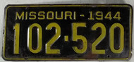 1944 Missouri License Plate 102-520 DMV Clear