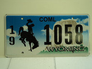 WYOMING Bucking Bronco Devils Tower Commercial License Plate 19 1058 1