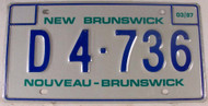 1987 Mar New Brunswick License Plate D4 736 Dealer