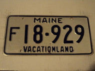 MAINE Vacationland License Plate F 18 929