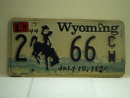 1999 Wyoming License Plate 2 66 CW 1