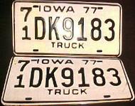 1977 Iowa 71 O'Brien License Plate PAIR