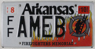 2010 Arkansas License Plate FF AMEB Firefighters