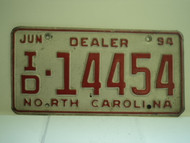 1994 NORTH CAROLINA Dealer License Plate ID 14454