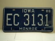 1986 IOWA License Plate EC 3131