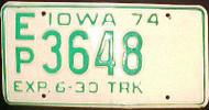 1974 Iowa EP 3648 Truck License Plate