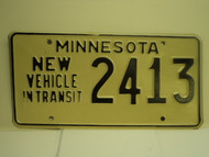 MINNESOTA New Vehicle In Transit License Plate 2413