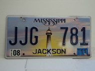 2011 MISSISSIPPI Lighthouse License Plate JJG 781