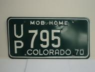 1970 COLORADO Mobile Home License Plate UP 795