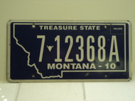 2010 MONTANA Treasure State License Plate 7 12368A