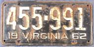 1962 Virginia 455-991 License Plate