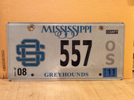 2011 Mississippi Greyhounds 557 OS License Plate