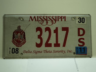 2011 MISSISSIPPI Delta Sigma Theta Sorority License Plate 3217 DS