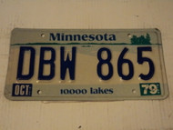 1979 MINNESOTA 10,000 Lakes License Plate DBW 865