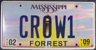 2009 Feb Mississippi Vanity CROW1 License Plate