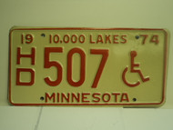 1974 MINNESOTA 10000 Lakes Handicapped License Plate HD 507 1