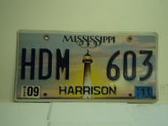 2011 MISSISSIPPI Lighthouse License Plate HDM 603