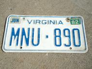 1982 VIRGINIA License Plate MNU 890