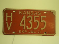 1971 KANSAS July Exp License Plate HV 4355
