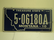 2010 MONTANA Treasure State License Plate 5 06180A
