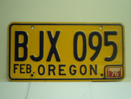 1976 OREGON License Plate BJX 095