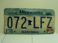 1997 MINNESOTA Explore 10,000 Lakes License Plate 072 LFZ