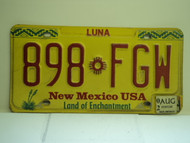2002 NEW MEXICO Land Of Enchantment License Plate 898 FGW