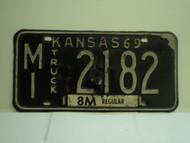 1969 KANSAS Truck 8M regular License Plate MI 2182