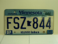 2003 MINNESOTA Explore 10,000 Lakes License Plate FSZ 844
