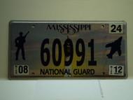2012 MISSISSIPPI NATIONAL GAURD License Plate 60991