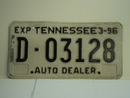 1996 TENNESSEE License Plate D 03128