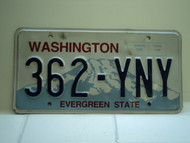 Washington Evergreen State License Plate 362 YNY