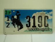 2009 WYOMING Bucking Bronco Devils Tower License Plate 12 319C