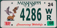 2008 Mississippi Conserving Wildlife License Plate