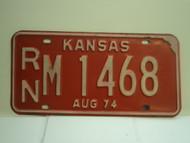 1974 KANSAS License Plate RN M 1469