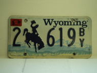 1999 WYOMING Bucking Bronco License Plate 2 619 BY