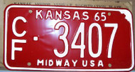 1965 Coffey Co Kansas CF-3407 Midway License Plate